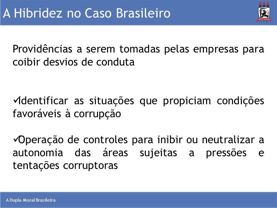 A Dupla Moral Brasileira A Hibridez no Caso Brasileiro Providências a serem tomadas pelas empresas para coibir desvios de conduta Identificar as situa