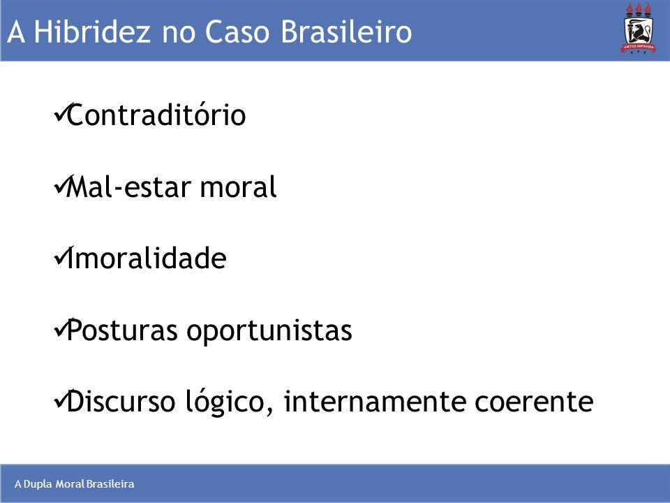 A Dupla Moral Brasileira A Hibridez no Caso Brasileiro Contraditório Mal-estar moral Imoralidade Posturas oportunistas Discurso lógico, internamente c