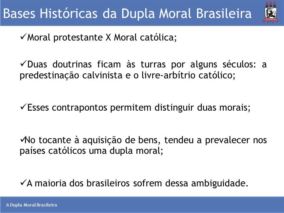 A Dupla Moral Brasileira Bases Históricas da Dupla Moral Brasileira Moral protestante X Moral católica; Duas doutrinas ficam às turras por alguns sécu