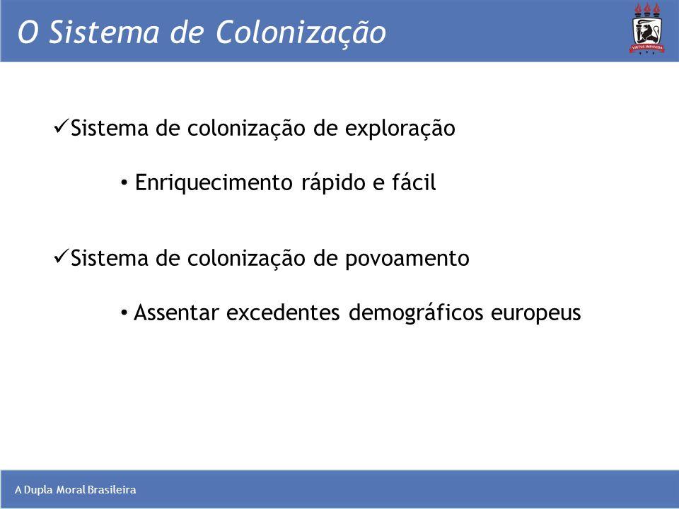A Dupla Moral Brasileira O Sistema de Colonização Sistema de colonização de exploração Enriquecimento rápido e fácil Sistema de colonização de povoame