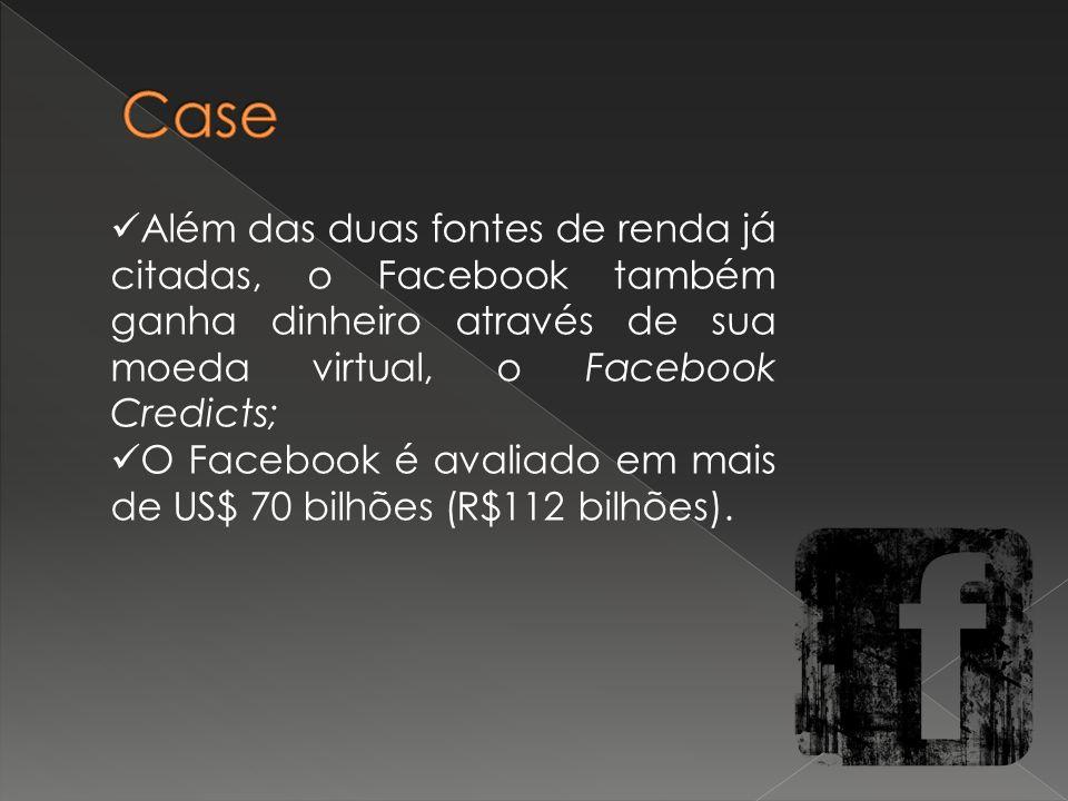 Além das duas fontes de renda já citadas, o Facebook também ganha dinheiro através de sua moeda virtual, o Facebook Credicts; O Facebook é avaliado em mais de US$ 70 bilhões (R$112 bilhões).