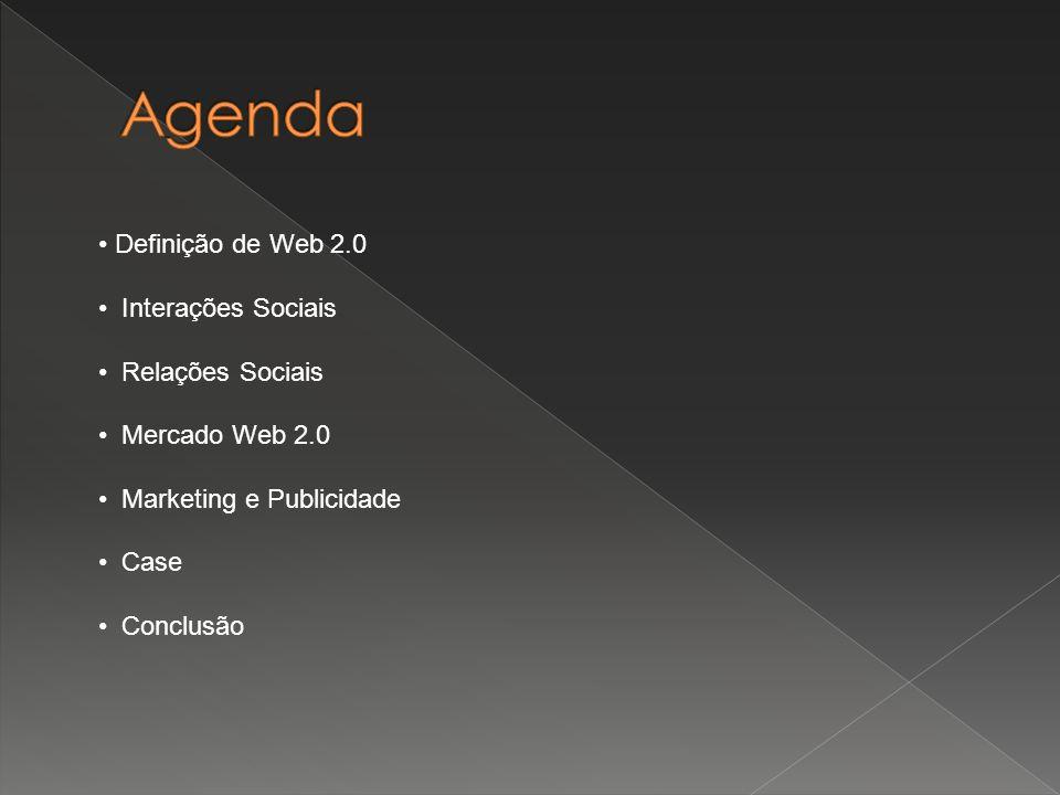 Definição de Web 2.0 Interações Sociais Relações Sociais Mercado Web 2.0 Marketing e Publicidade Case Conclusão