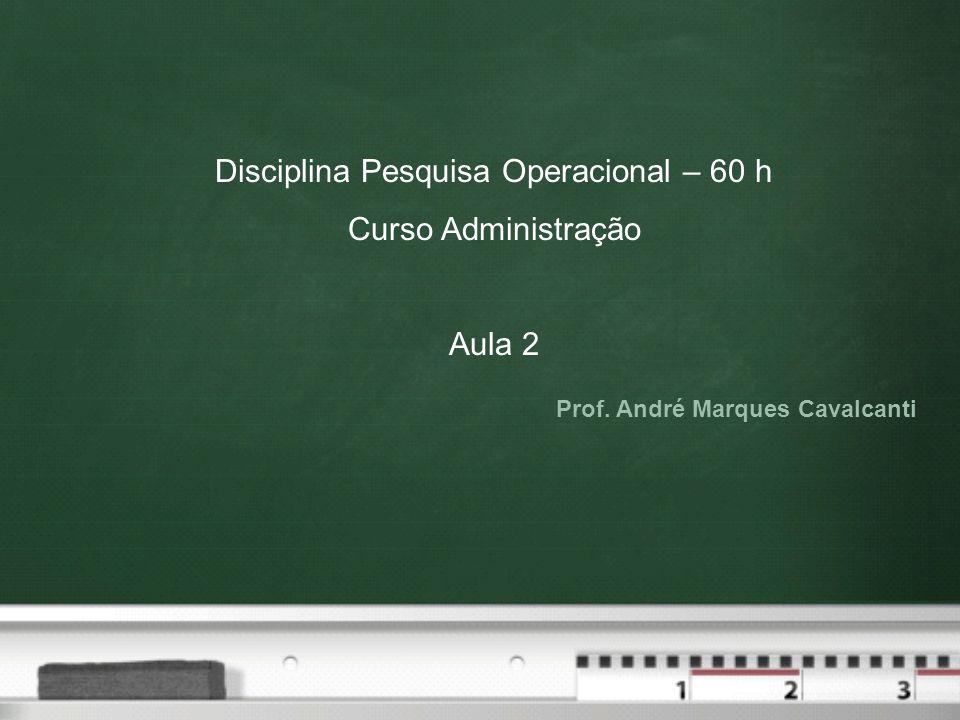 Prof. André Marques Cavalcanti Disciplina Pesquisa Operacional – 60 h Curso Administração Aula 2
