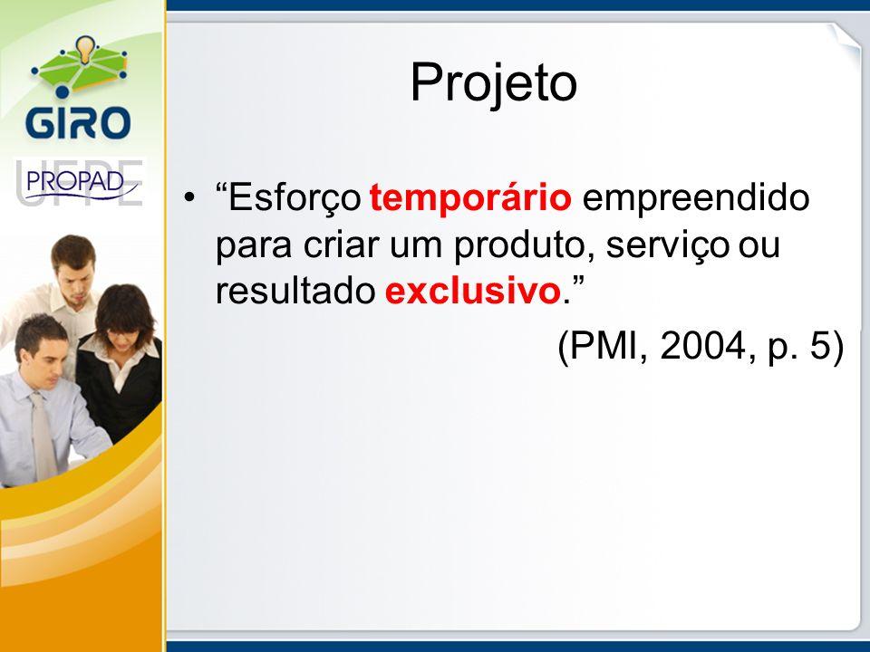 Projeto Esforço temporário empreendido para criar um produto, serviço ou resultado exclusivo. (PMI, 2004, p. 5)