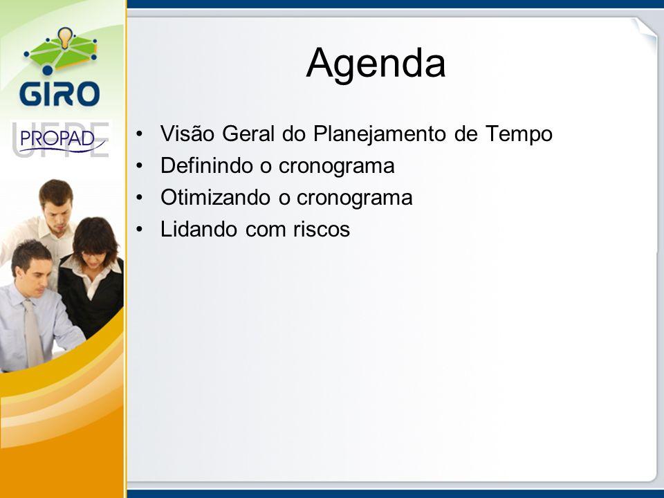 Agenda Visão Geral do Planejamento de Tempo Definindo o cronograma Otimizando o cronograma Lidando com riscos