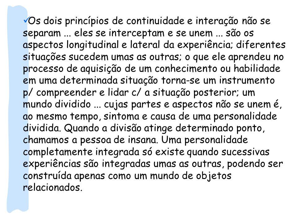 Os dois princípios de continuidade e interação não se separam... eles se interceptam e se unem... são os aspectos longitudinal e lateral da experiênci
