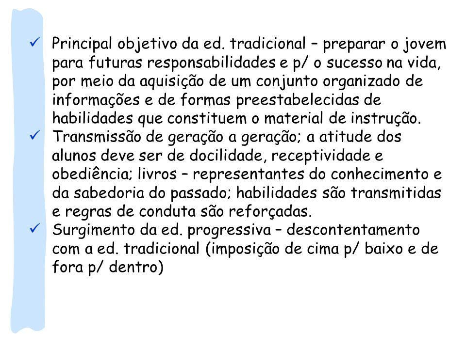 Principal objetivo da ed. tradicional – preparar o jovem para futuras responsabilidades e p/ o sucesso na vida, por meio da aquisição de um conjunto o
