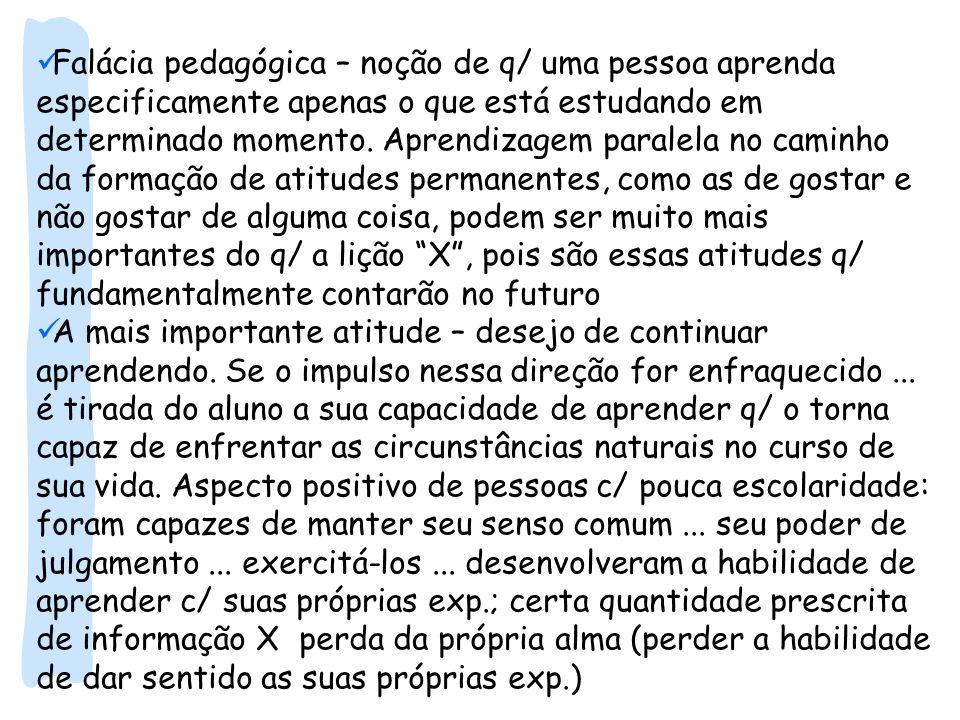 Falácia pedagógica – noção de q/ uma pessoa aprenda especificamente apenas o que está estudando em determinado momento. Aprendizagem paralela no camin