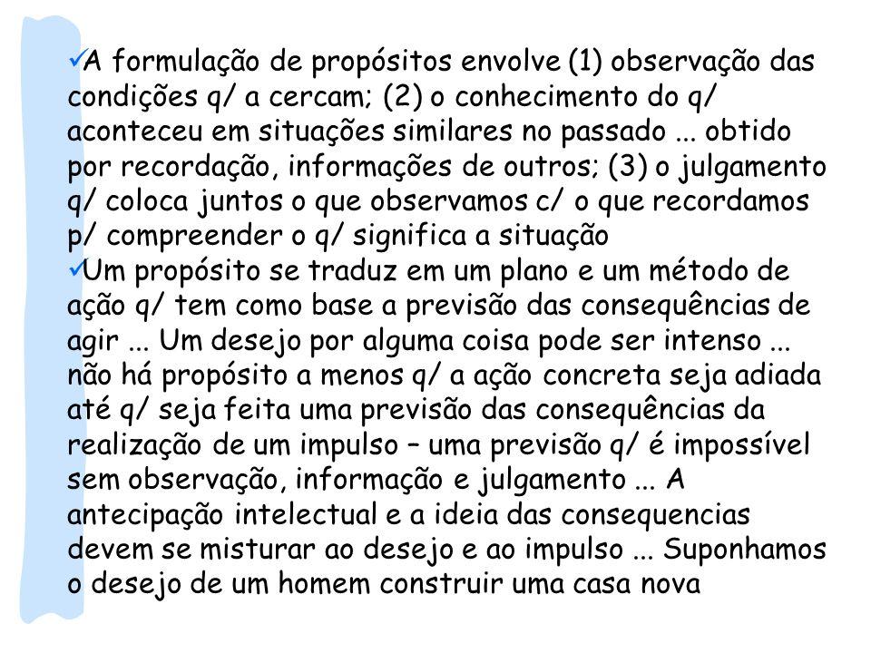 A formulação de propósitos envolve (1) observação das condições q/ a cercam; (2) o conhecimento do q/ aconteceu em situações similares no passado... o