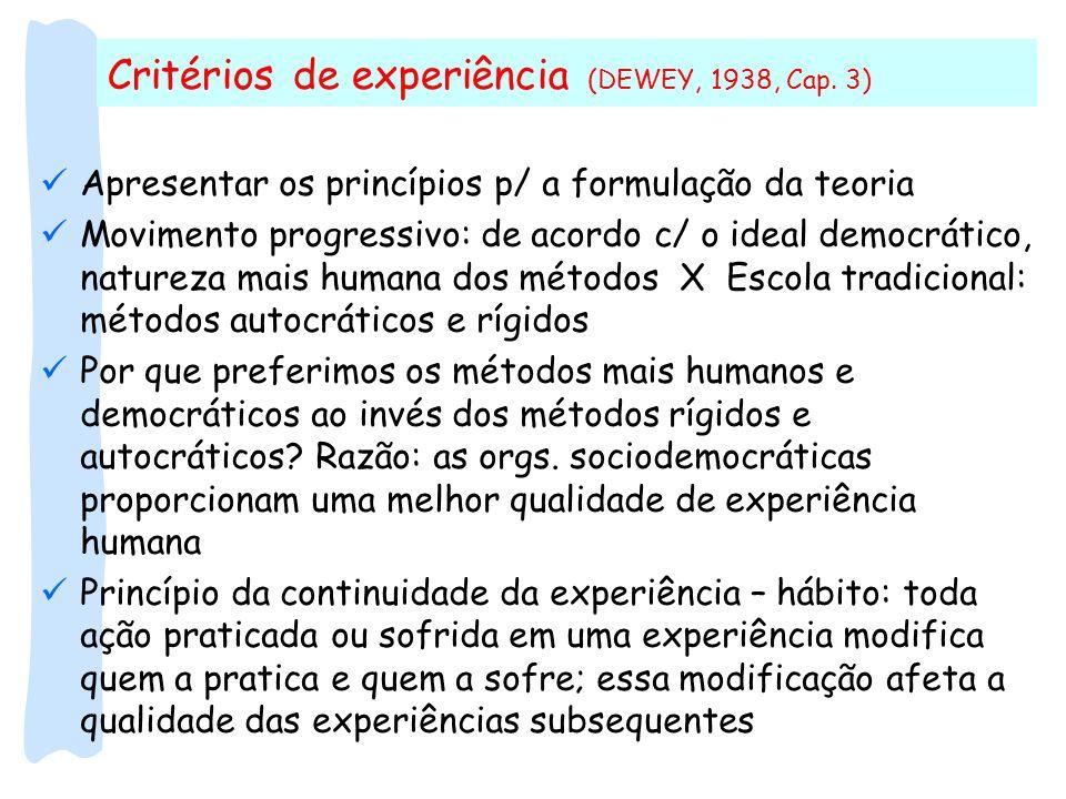 Apresentar os princípios p/ a formulação da teoria Movimento progressivo: de acordo c/ o ideal democrático, natureza mais humana dos métodos X Escola