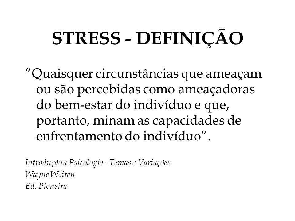 STRESS - DEFINIÇÃO Quaisquer circunstâncias que ameaçam ou são percebidas como ameaçadoras do bem-estar do indivíduo e que, portanto, minam as capacid