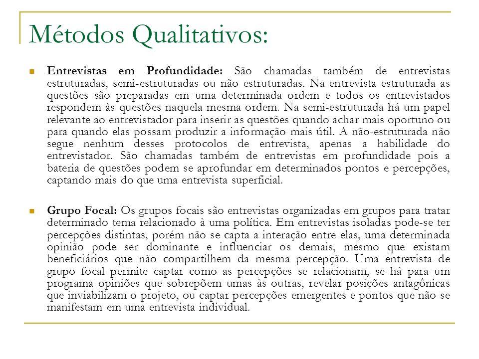 Métodos Qualitativos: Entrevistas em Profundidade: São chamadas também de entrevistas estruturadas, semi-estruturadas ou não estruturadas. Na entrevis