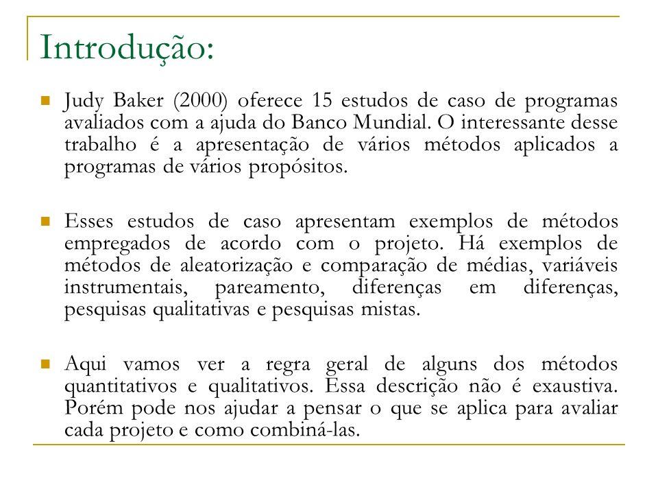 Métodos Quantitativos: Baker (2000) apresenta alguns dos métodos quantitativos mais empregados, fazendo a distinção entre o método experimental e os métodos quase-experimentais: métodos experimentais: Aleatorização: métodos quase-experimentais: Pareamento: Diferenças em Diferenças: Variáveis Instrumentais: