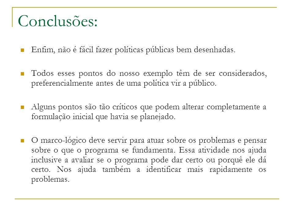 Conclusões: Enfim, não é fácil fazer políticas públicas bem desenhadas. Todos esses pontos do nosso exemplo têm de ser considerados, preferencialmente