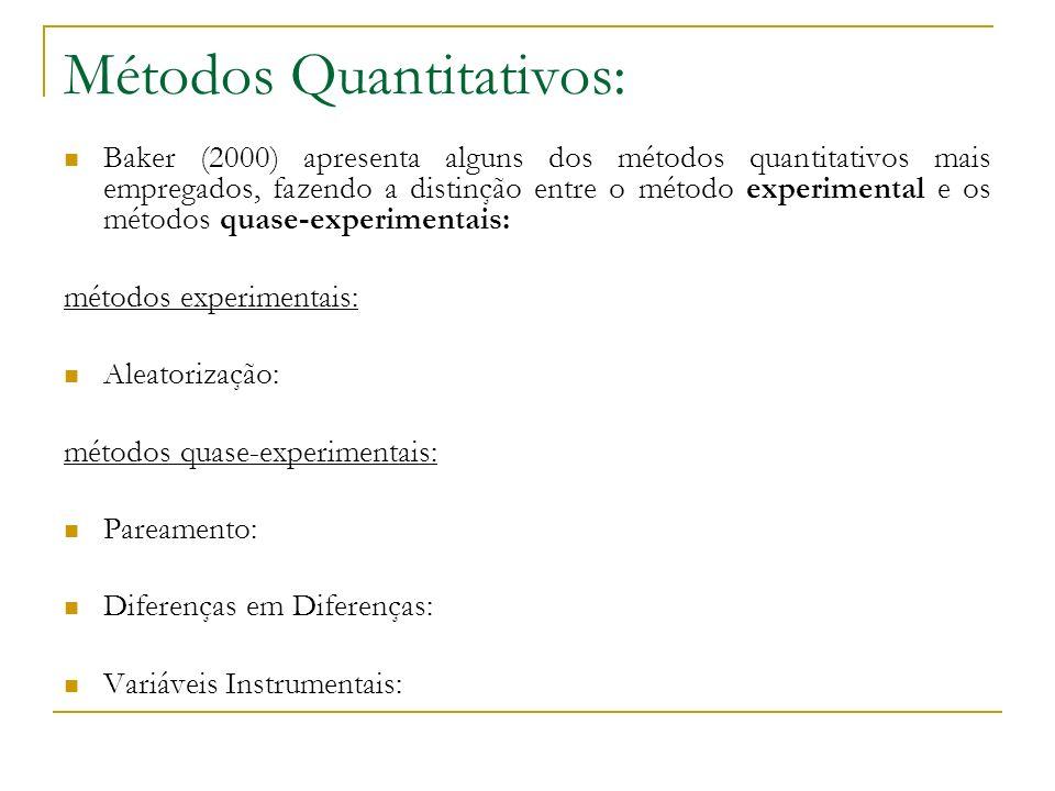 Métodos Quantitativos: Baker (2000) apresenta alguns dos métodos quantitativos mais empregados, fazendo a distinção entre o método experimental e os m
