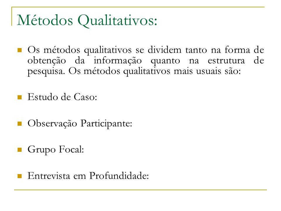 Métodos Qualitativos: Os métodos qualitativos se dividem tanto na forma de obtenção da informação quanto na estrutura de pesquisa. Os métodos qualitat
