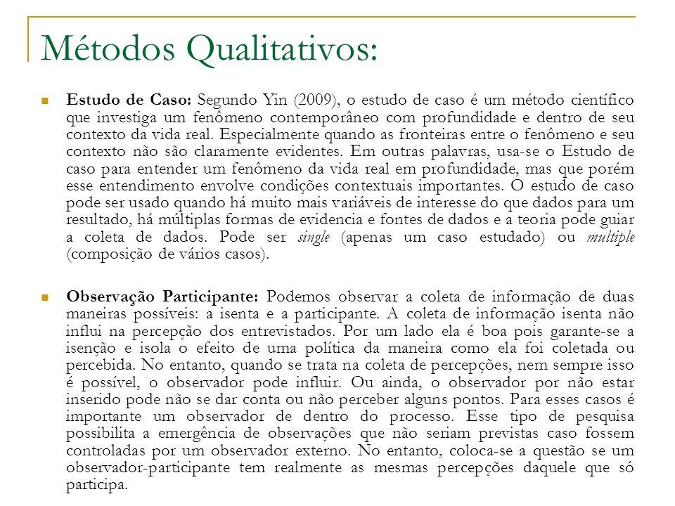 Métodos Qualitativos: Estudo de Caso: Segundo Yin (2009), o estudo de caso é um método científico que investiga um fenômeno contemporâneo com profundi