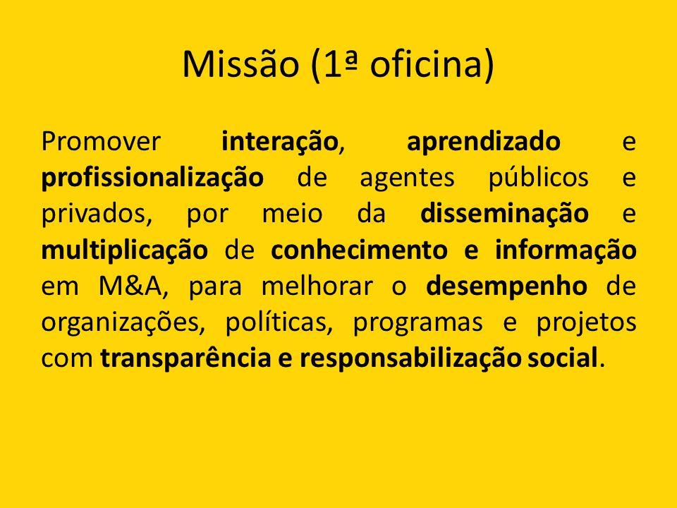 Missão (1ª oficina) Promover interação, aprendizado e profissionalização de agentes públicos e privados, por meio da disseminação e multiplicação de conhecimento e informação em M&A, para melhorar o desempenho de organizações, políticas, programas e projetos com transparência e responsabilização social.