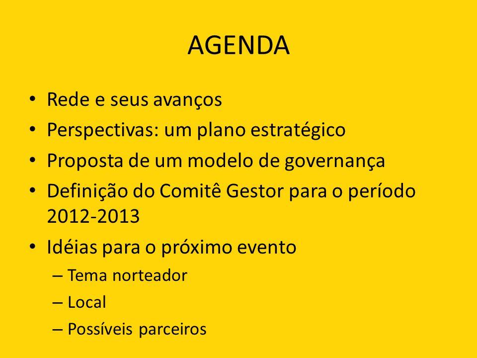 AGENDA Rede e seus avanços Perspectivas: um plano estratégico Proposta de um modelo de governança Definição do Comitê Gestor para o período 2012-2013 Idéias para o próximo evento – Tema norteador – Local – Possíveis parceiros