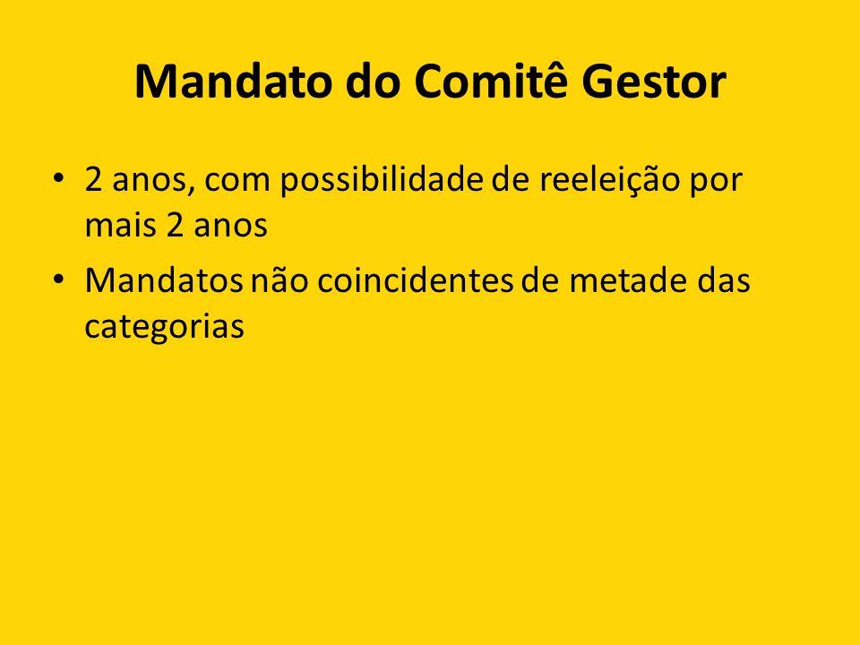 Mandato do Comitê Gestor 2 anos, com possibilidade de reeleição por mais 2 anos Mandatos não coincidentes de metade das categorias