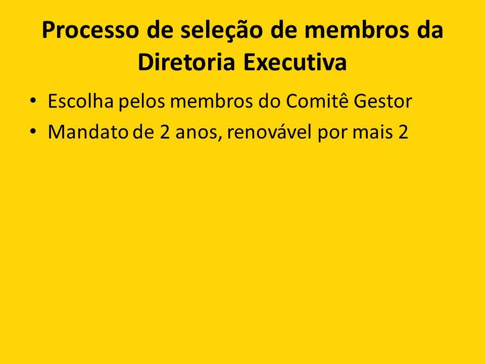 Processo de seleção de membros da Diretoria Executiva Escolha pelos membros do Comitê Gestor Mandato de 2 anos, renovável por mais 2