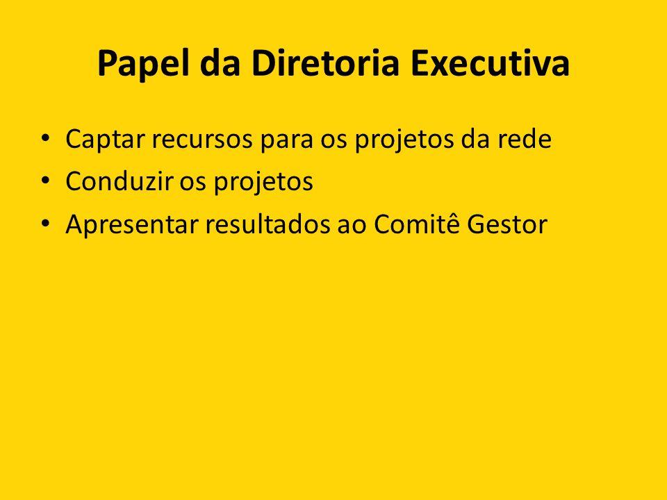 Papel da Diretoria Executiva Captar recursos para os projetos da rede Conduzir os projetos Apresentar resultados ao Comitê Gestor