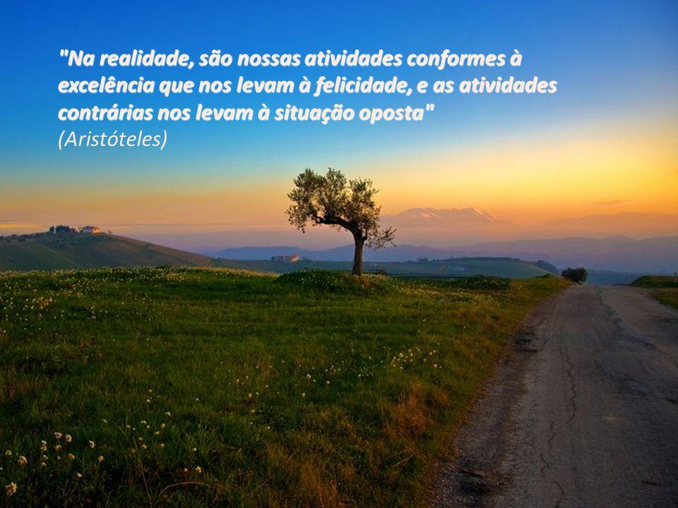 Na realidade, são nossas atividades conformes à excelência que nos levam à felicidade, e as atividades contrárias nos levam à situação oposta Na realidade, são nossas atividades conformes à excelência que nos levam à felicidade, e as atividades contrárias nos levam à situação oposta (Aristóteles)