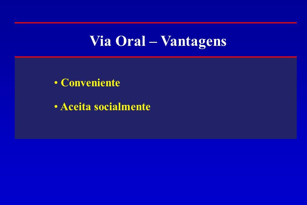 Via Oral – Vantagens Conveniente Aceita socialmente