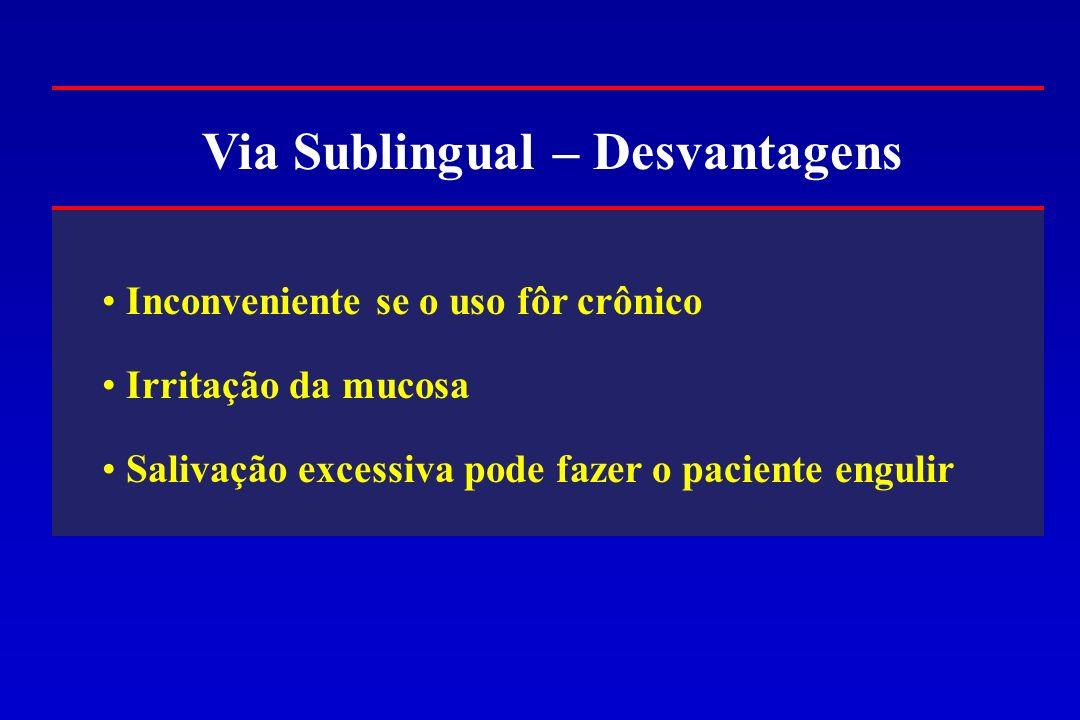 Via Sublingual – Desvantagens Inconveniente se o uso fôr crônico Irritação da mucosa Salivação excessiva pode fazer o paciente engulir