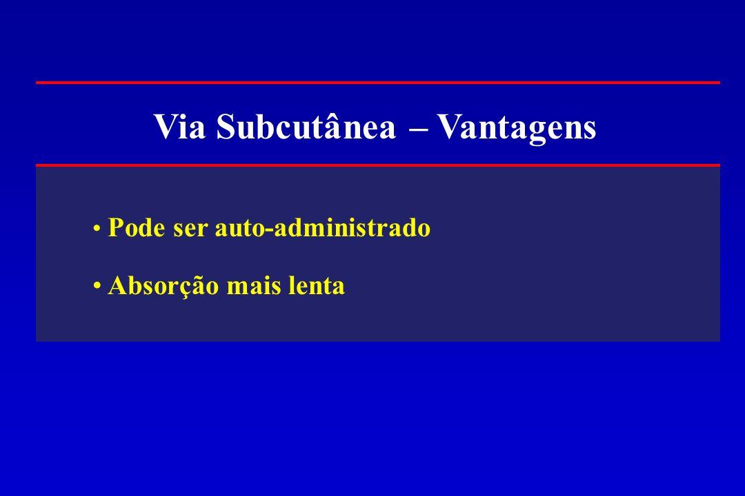 Via Subcutânea – Vantagens Pode ser auto-administrado Absorção mais lenta