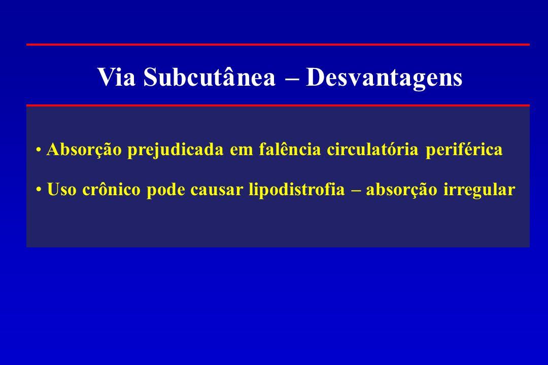 Via Subcutânea – Desvantagens Absorção prejudicada em falência circulatória periférica Uso crônico pode causar lipodistrofia – absorção irregular