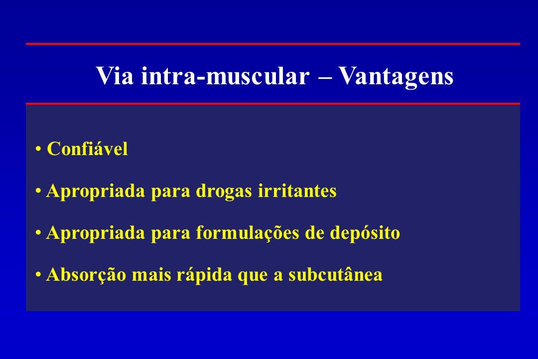 Via intra-muscular – Vantagens Confiável Apropriada para drogas irritantes Apropriada para formulações de depósito Absorção mais rápida que a subcutân