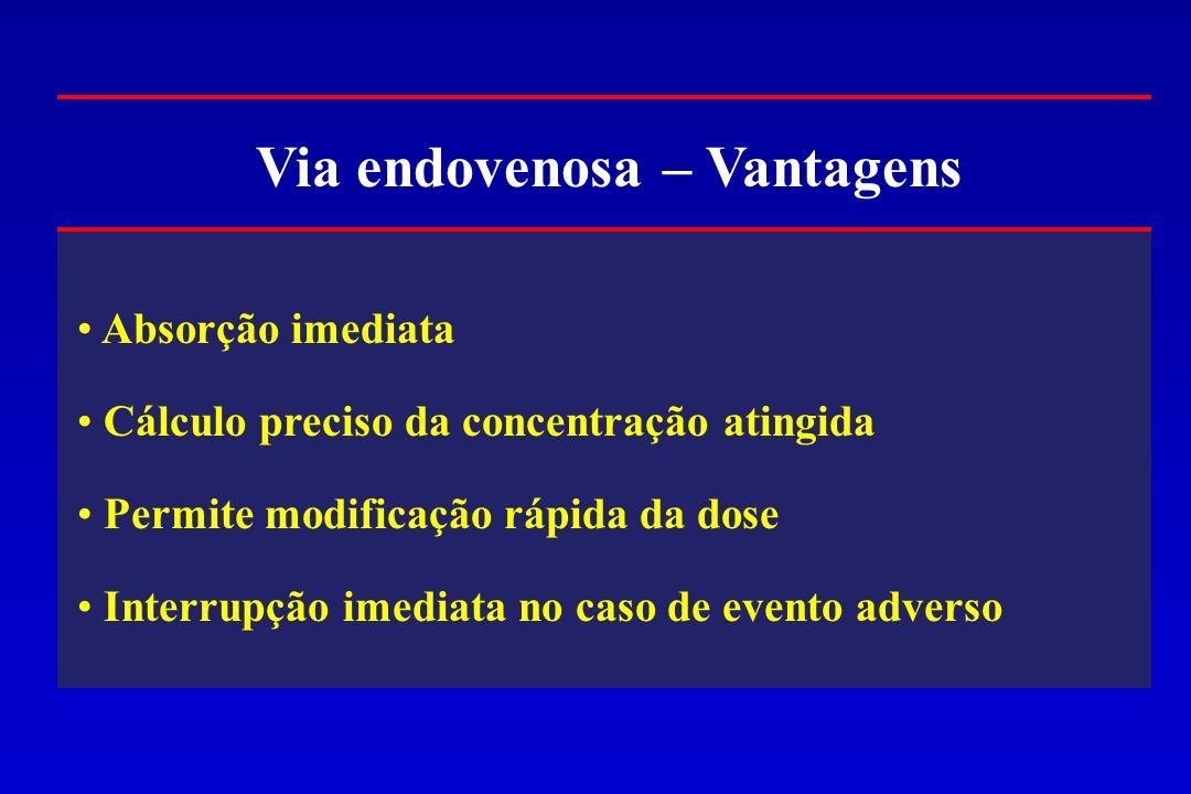 Via endovenosa – Vantagens Absorção imediata Cálculo preciso da concentração atingida Permite modificação rápida da dose Interrupção imediata no caso