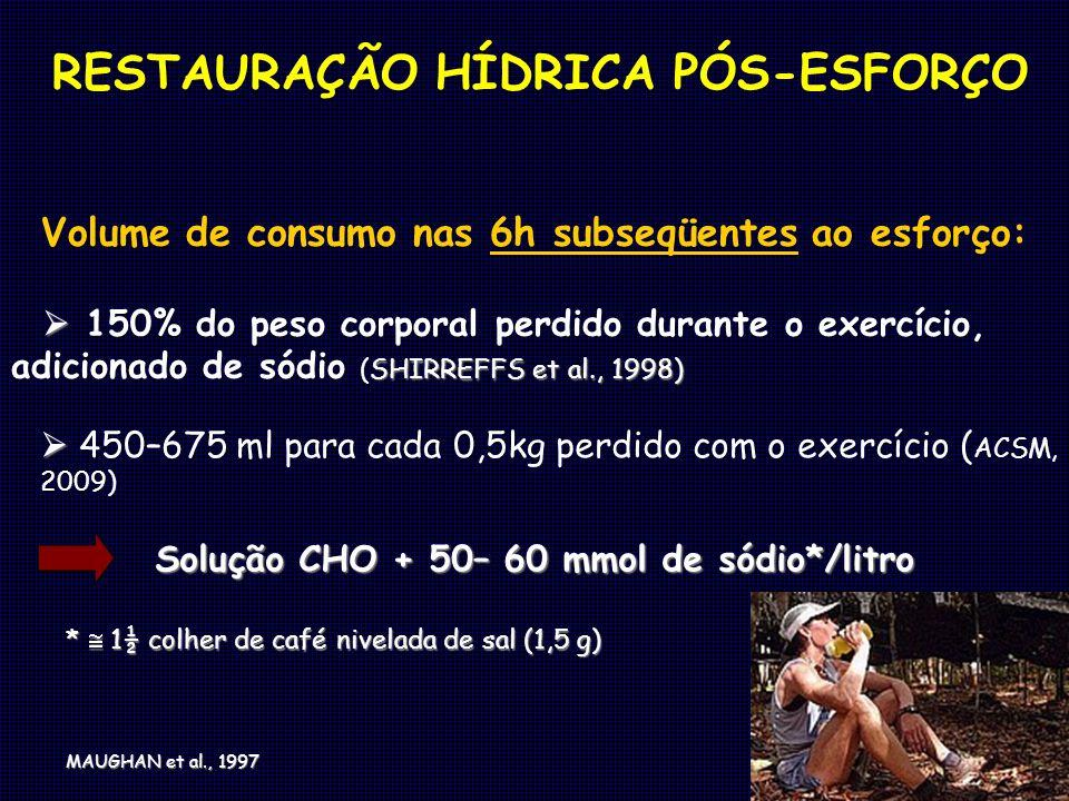 Volume de consumo nas 6h subseqüentes ao esforço: SHIRREFFS et al., 1998) 150% do peso corporal perdido durante o exercício, adicionado de sódio (SHIR