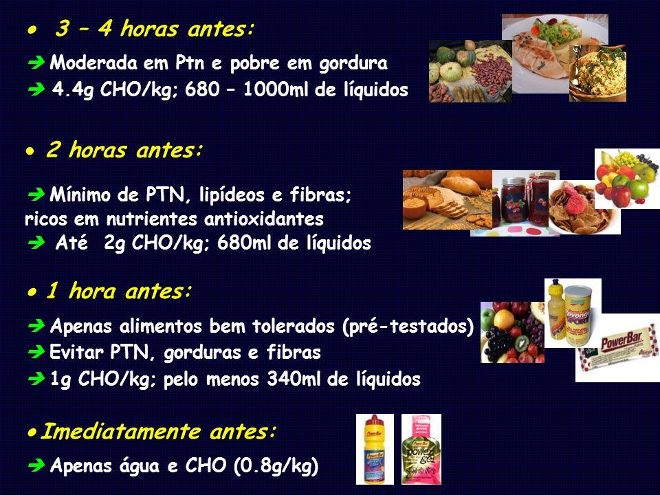 3 – 4 horas antes: Moderada em Ptn e pobre em gordura 4.4g CHO/kg; 680 – 1000ml de líquidos 2 horas antes: Mínimo de PTN, lipídeos e fibras; ricos em