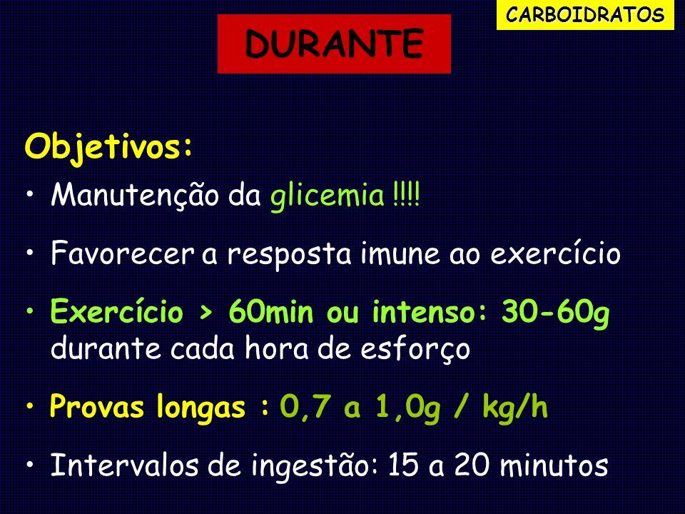 Objetivos: Manutenção da glicemia !!!! Favorecer a resposta imune ao exercício Exercício > 60min ou intenso: 30-60g durante cada hora de esforço Prova