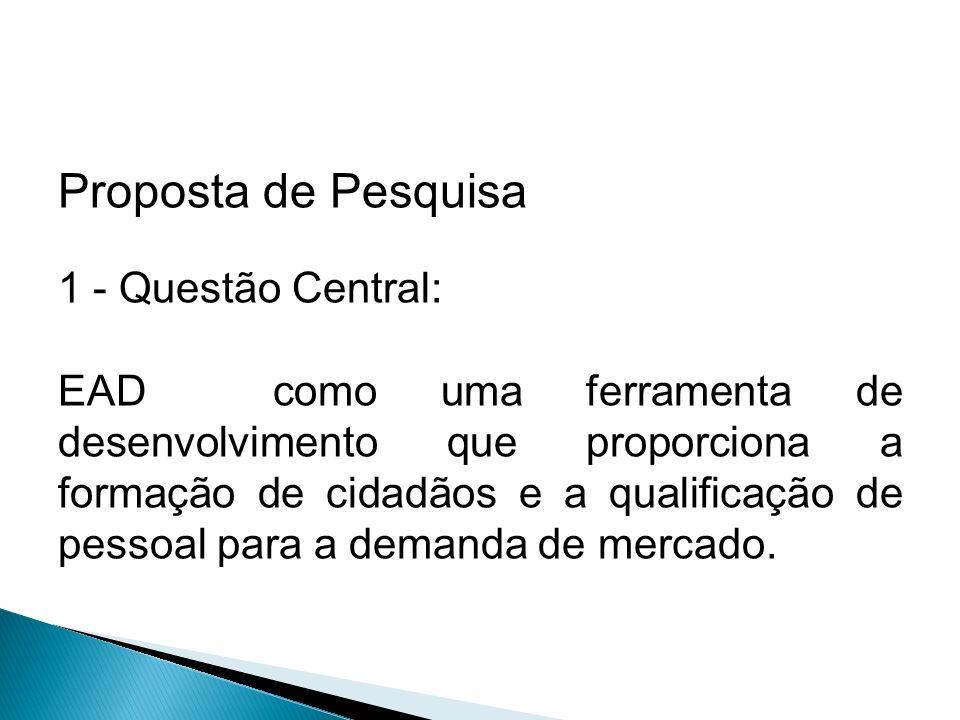 Proposta de Pesquisa 1 - Questão Central: EAD como uma ferramenta de desenvolvimento que proporciona a formação de cidadãos e a qualificação de pessoal para a demanda de mercado.