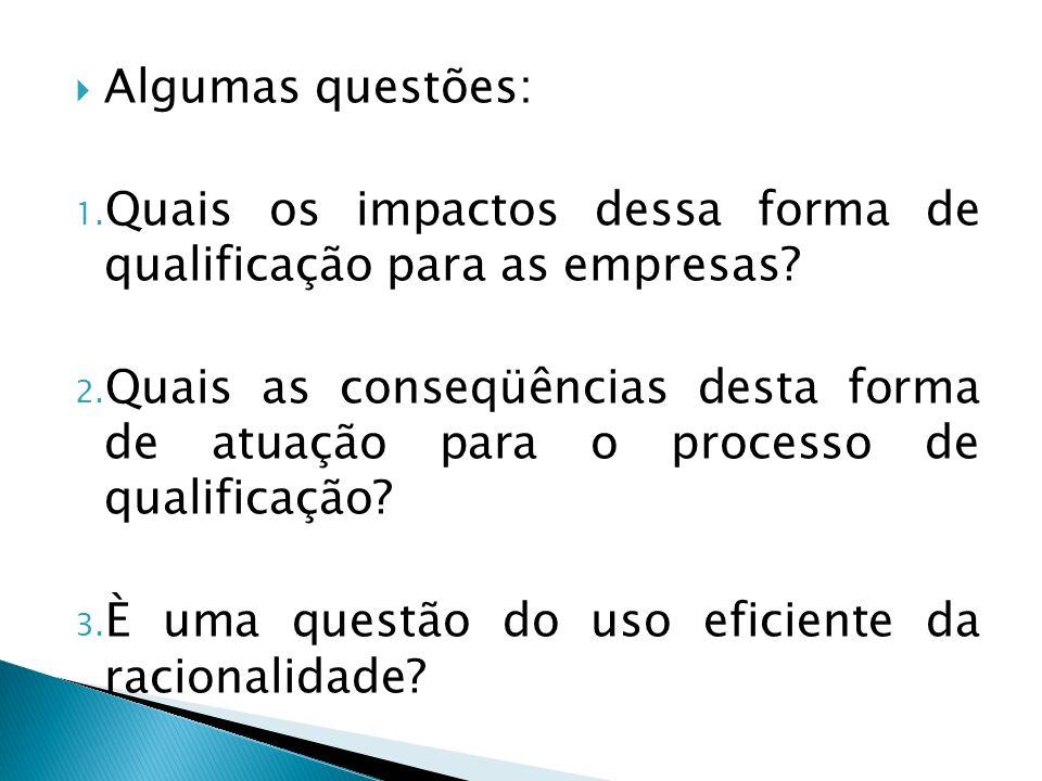 Algumas questões: 1. Quais os impactos dessa forma de qualificação para as empresas? 2. Quais as conseqüências desta forma de atuação para o processo