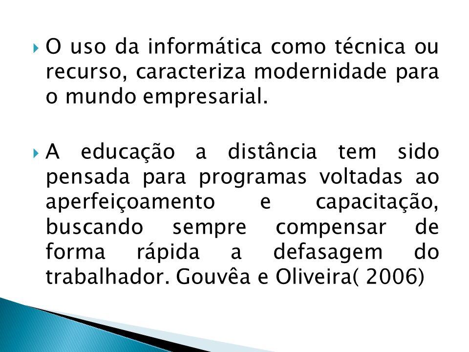 O uso da informática como técnica ou recurso, caracteriza modernidade para o mundo empresarial. A educação a distância tem sido pensada para programas