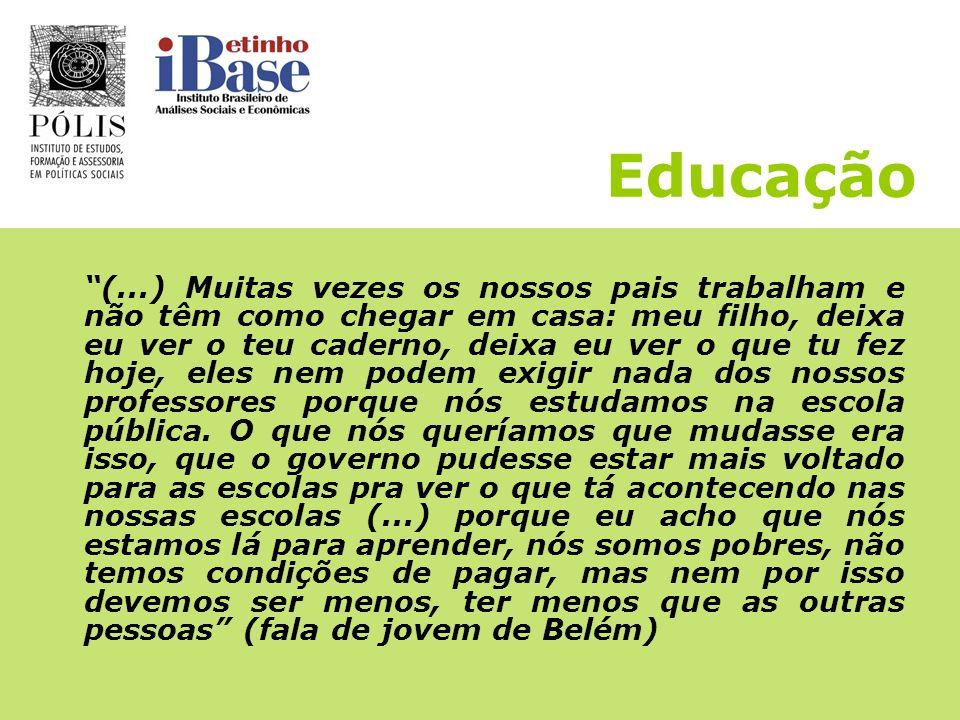 Educação O que os(as) jovens esperam: - Expansão do Ensino Médio - Mais professores(as) nas escolas - Professores(as) mais qualificados(as) e melhor r