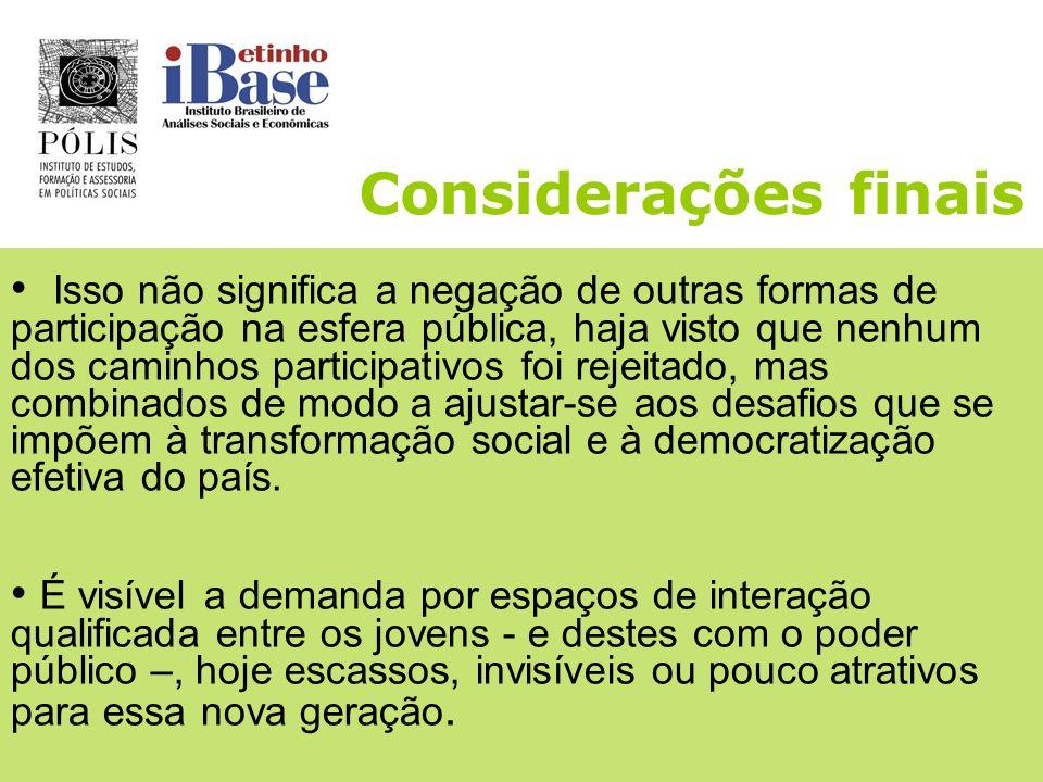 Considerações finais Demandam a sua inclusão social, ao mesmo tempo em que anseiam pela inclusão política: querem ser ouvidos e contribuir na construç