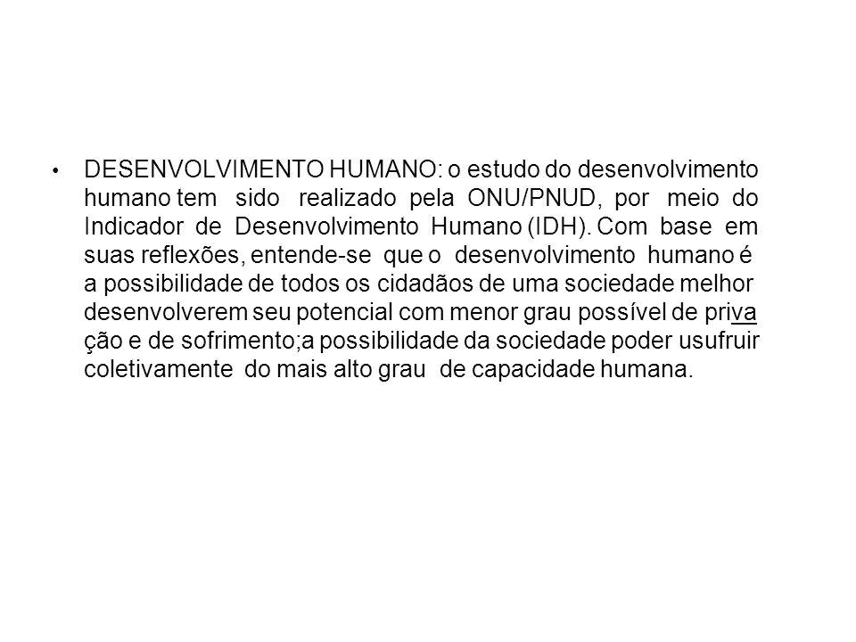 DESENVOLVIMENTO HUMANO: o estudo do desenvolvimento humano tem sido realizado pela ONU/PNUD, por meio do Indicador de Desenvolvimento Humano (IDH). Co