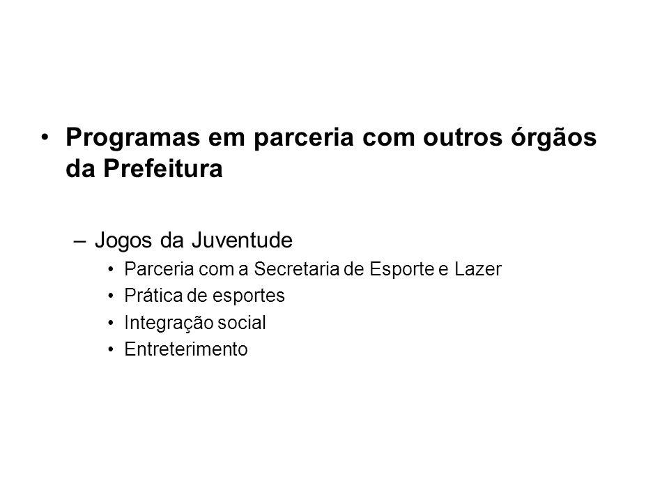 Programas em parceria com outros órgãos da Prefeitura –Jogos da Juventude Parceria com a Secretaria de Esporte e Lazer Prática de esportes Integração