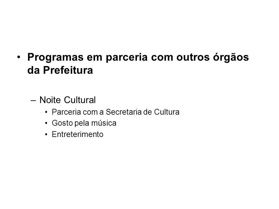 Programas em parceria com outros órgãos da Prefeitura –Noite Cultural Parceria com a Secretaria de Cultura Gosto pela música Entreterimento