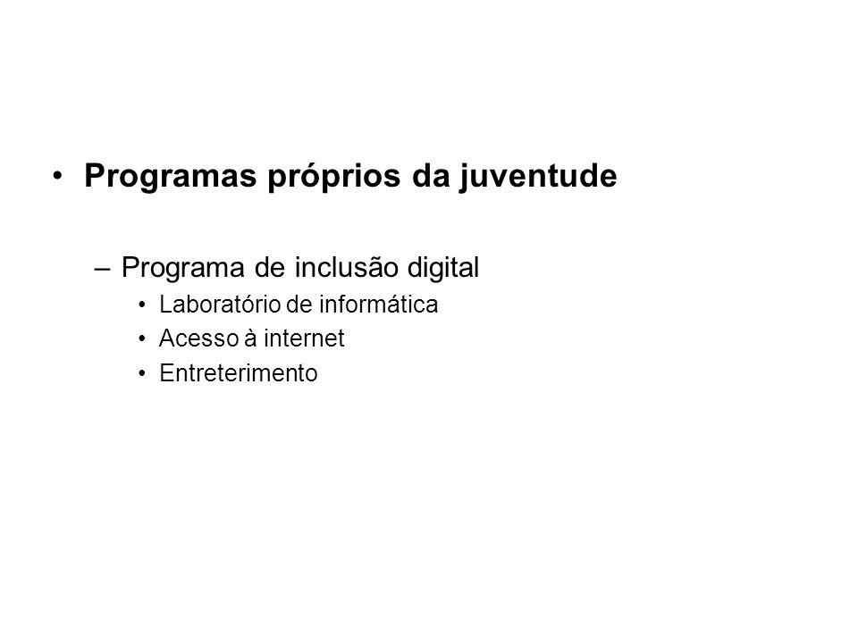 Programas próprios da juventude –Programa de inclusão digital Laboratório de informática Acesso à internet Entreterimento