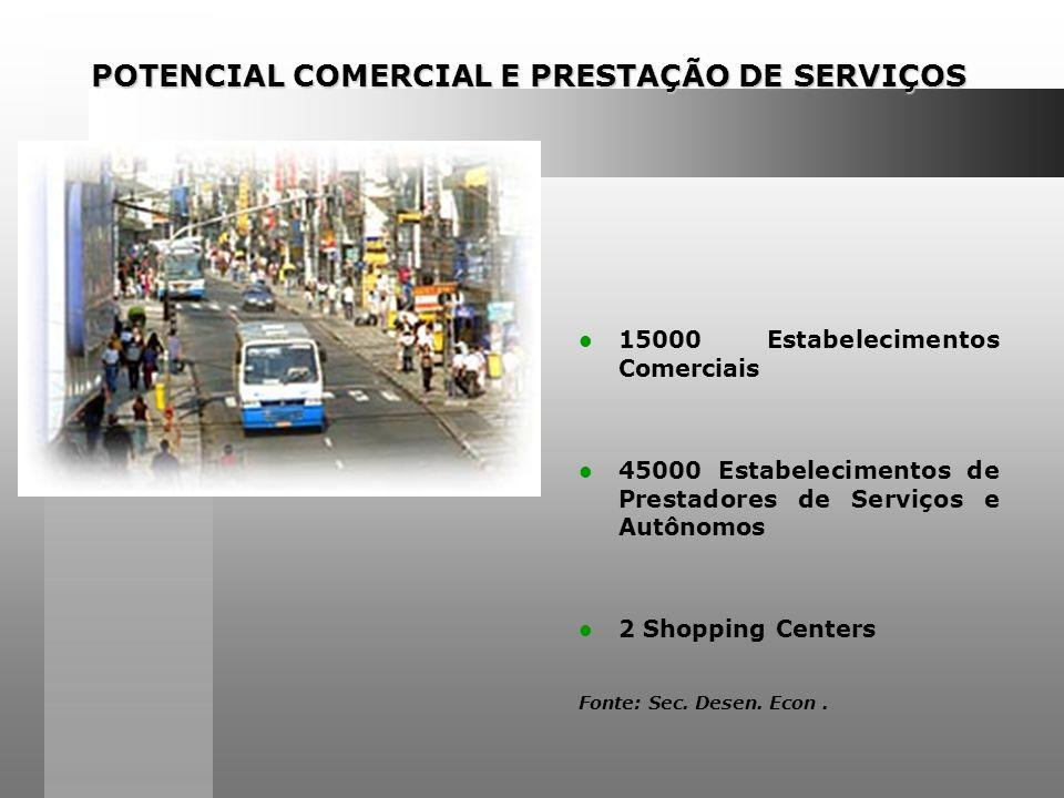 POTENCIAL COMERCIAL E PRESTAÇÃO DE SERVIÇOS 15000 Estabelecimentos Comerciais 45000 Estabelecimentos de Prestadores de Serviços e Autônomos 2 Shopping Centers Fonte: Sec.