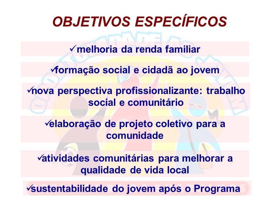 OBJETIVOS ESPECÍFICOS melhoria da renda familiar formação social e cidadã ao jovem nova perspectiva profissionalizante: trabalho social e comunitário