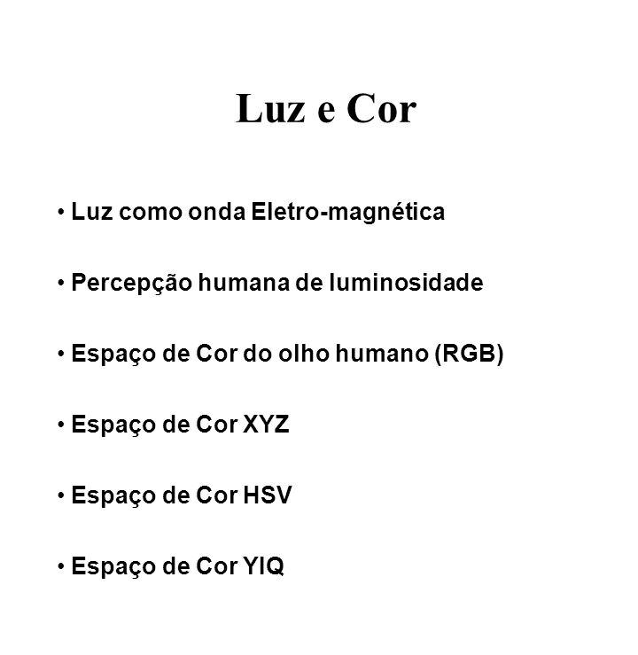 Luz e Cor Luz como onda Eletro-magnética Percepção humana de luminosidade Espaço de Cor do olho humano (RGB) Espaço de Cor XYZ Espaço de Cor HSV Espaç