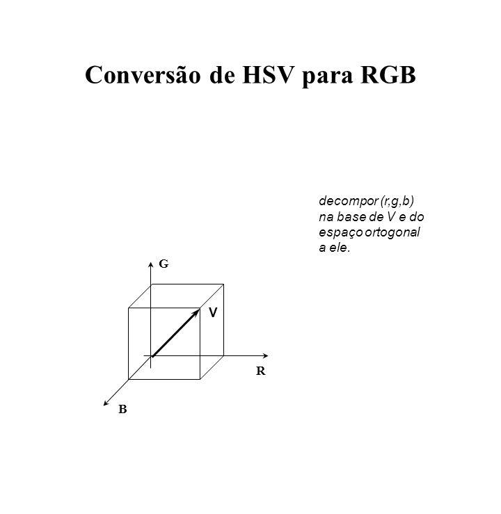 Conversão de HSV para RGB R G B V decompor (r,g,b) na base de V e do espaço ortogonal a ele.