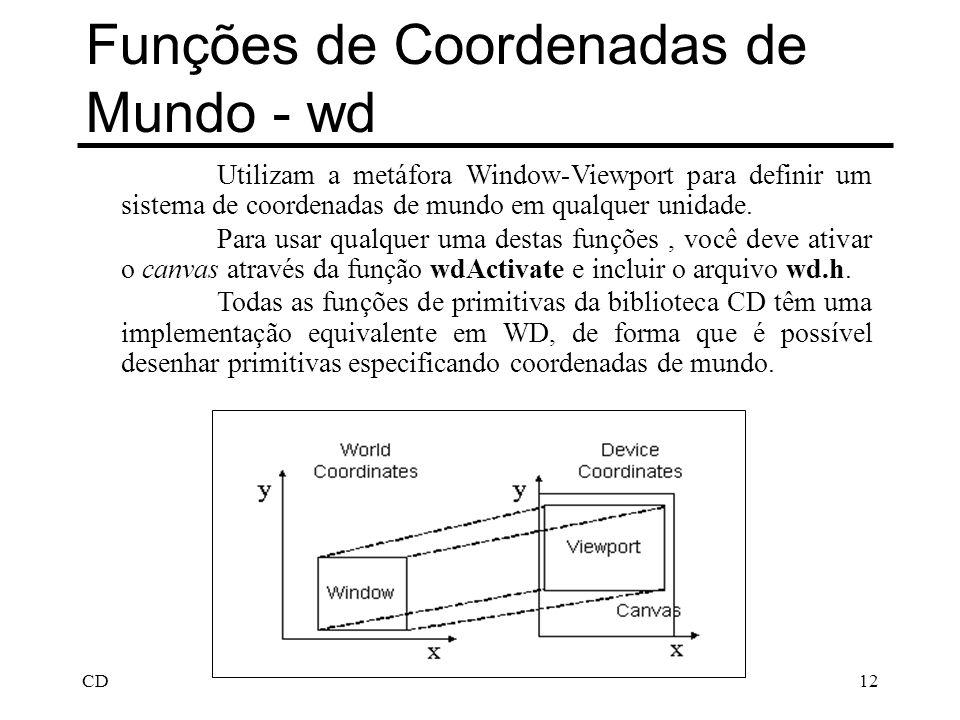 CD12 Funções de Coordenadas de Mundo - wd Utilizam a metáfora Window-Viewport para definir um sistema de coordenadas de mundo em qualquer unidade. Par
